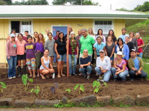 Attendees of the 2016 Kū 'Āina Pā Summer Intensive gathered at Kona Pacific Public Charter School to learn how to use the Hawai'i School Garden Curriculum Map.