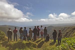 Keiki in our Ke Kumu 'Āina spring break program overlook Waipi'o Valley from Alakahi in the Pu'u o 'Umi Natural Area Reserve.