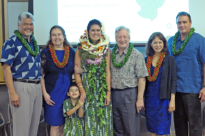 Mellon-Hawai'i doctoral fellow Dr. Kealoha Fox (center) after successfully defending her dissertation, March 13, 2017