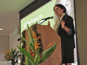 Kacie O'Brien, U.S. Department of Agriculture Farm to School Western regional lead, delivered the conference's keynote address.