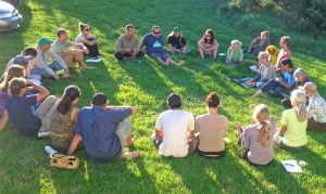 Participants in the second annual statewide Seed Network Gathering reflect after a day of farm visits and seed demonstrations in Waimea, Hawai'i Island.
