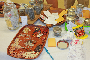 A variety of seeds on display at the Honoka'a Seed Exchange.