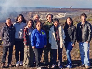 The seventh cohort of Mellon-Hawai'i Fellows convened with a sunrise ceremony at Halema'uma'u Crater on July 18, 2014. As the fellows and their mentors gathered for this photo, a flock of endangered nēnē (Hawaiian geese) soared overhead. From left to right, Matthews Hamabata, Ph.D., Liza Keānuenueokalani Williams, Noelani Puniwai, Craig Severance, Ph.D., Keiki Kawai'ae'a, Ph.D., Kamanamaikalani Beamer, Ph.D., Vernadette Vicuna Gonzalez, Ph.D., Rebecca 'Ilima Luning, Ph.D., Noa Kekuewa Lincoln, Ph.D.