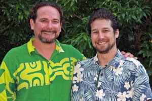 (l-r) Mentor Kamanamaikalani Beamer, Ph.D., Mellon-Hawai'i postdoctoral fellow Noa Kekuewa Lincoln, Ph.D.