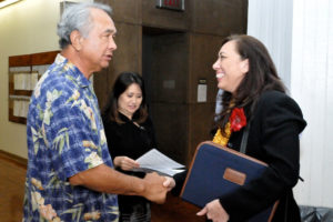 Lupenui, Hawai'i Board of Education member from 2011 to 2015, meeting the late State Sen. Gilbert Kahele (Photo by Ed Morita)
