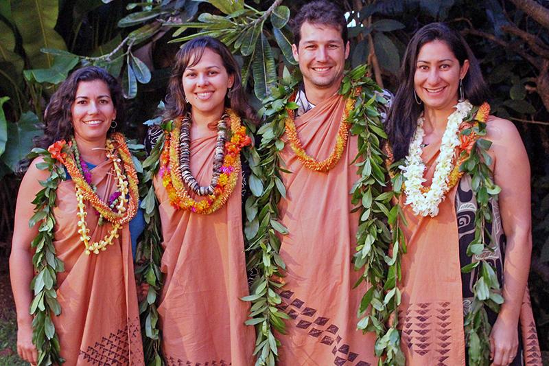 The 2014–2015 Mellon-Hawai'i Doctoral and Postdoctoral Fellows: (l-r) Noelani Puniwai, Dr. 'Ilima Luning, Dr. Noa Kekuewa Lincoln, Liza Keānuenueokalani Williams