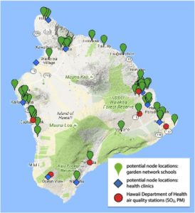A map of Hawai'i Island showing locations of existing air quality stations and potential locations at school gardens and community health clinics.