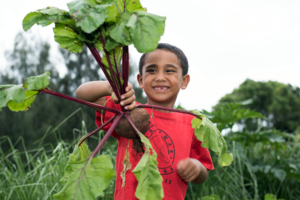 Student with beet